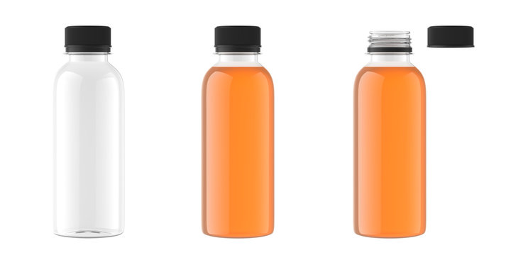juice bottle mockup isolated on white background, 3D rendering