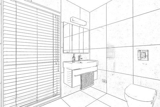 Sketch of bathroom