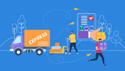 Express Delivery on Outline Blue City Background
