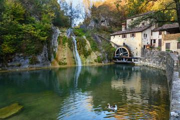 Ancient watermill wheel, Molinetto della Croda in Lierza valley. Refrontolo. Italy