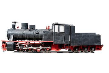 vintage black locomotive isolated on white background