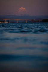 Last light of the evening marinates the Pacific Northwest's Mt Hood over the Columbia River