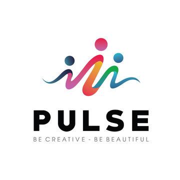 People Beat logo, community logo template designs vector