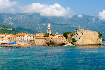 view of the old town of Budva, in Montenegro
