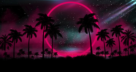 Fotomurales - Night landscape with palm trees, against the backdrop of a neon sunset, stars. Silhouette coconut palm trees on beach at sunset. Vintage tone. Space futuristic landscape. Neon palm tree