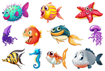 Set of sea creature