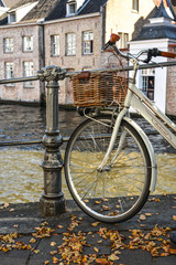 A bicycle on old street of Bruges, Belgium