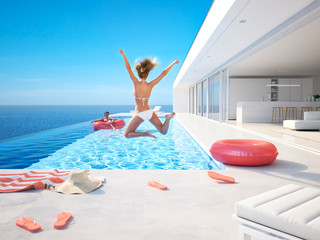 3D-Illustration. woman jumping in the pool. summer fun