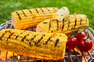 Grilled corn on the grille outdoors
