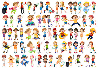 Set of kid character