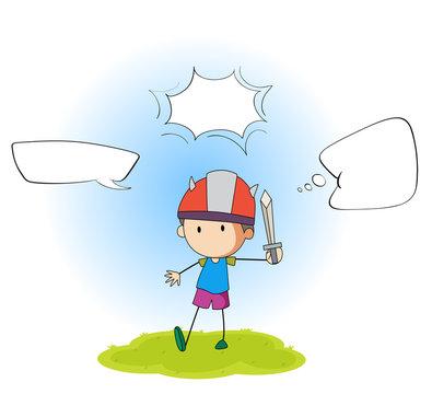 Boy playing sword with speech balloon