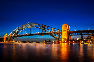 Wall Mural - Harbor Bridge in Sydney by Blue Hour