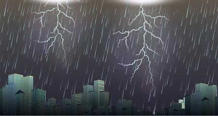 A thunderstorm storm urban scene