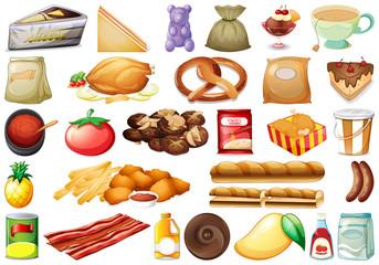 Set of various food