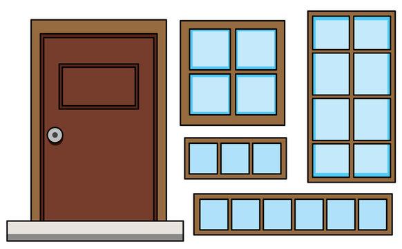 Set of window and door
