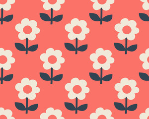 seamless pattern with stylized flowers in scandinavian style