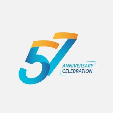 57 Year Anniversary Celebration Vector Template Design Illustration