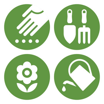 Planting icon, Gardening tools icon, Flower icon and Watering can icon