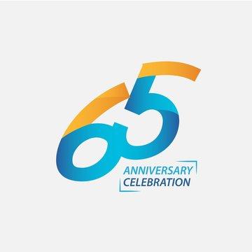 65 Year Anniversary Celebration Vector Template Design Illustration