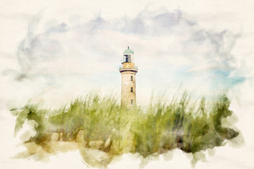 beautiful old lighthouse of Warnemuende