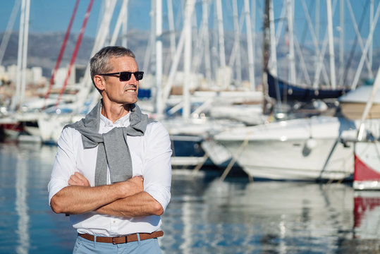 Portrait of senior on the marina