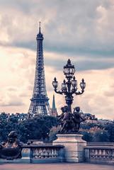 Fototapete - Eiffel tower viewed from Alexandre III bridge in Paris