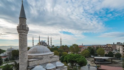 Wall Mural - Istanbul skyline with Blue Mosque time lapse in Istanbul city, Turkey