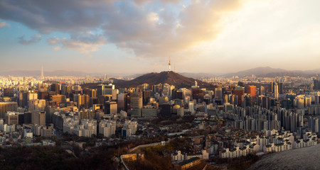Wall Mural - Seoul City Skyline and N Seoul Tower from Iwangsan hill