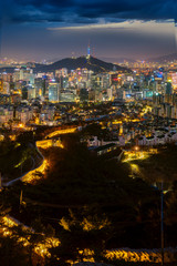 Wall Mural - Seoul City Skyline and N Seoul Tower