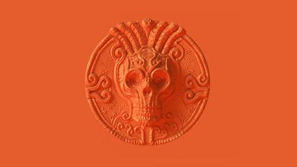 Orange Green Skull Coin 3d illustration