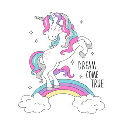 Glitter unicorn on a rainbow for t-shirts. Dream come true text. Design for kids. Fashion illustration drawing in modern style for clothes. Girlish print. Beautiful unicorn.