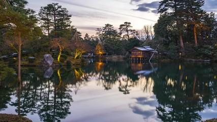 Wall Mural - Kenrokuen Garden at twilight in Kanazawa, Japan time lapse