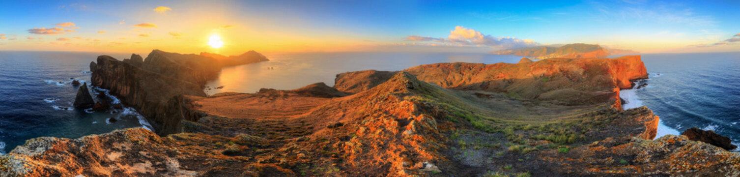Beautiful 360 degree panoramic landscape panorama of the island Madeira at Ponta de Sao Lourenco nature reserve at sunrise