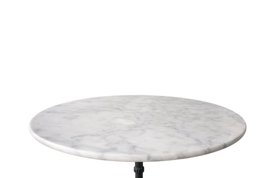white marble stone table top isolated on white background