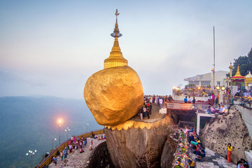 Kyaikhtiyo or Kyaiktiyo pagoda, Golden rock, Myanmar.They are public domain or treasure of Buddhism, no restrict in copy or use