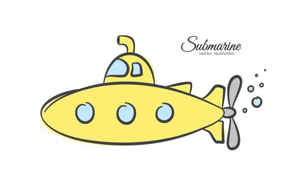 Hand drawn cartoon yellow submarine on white background.