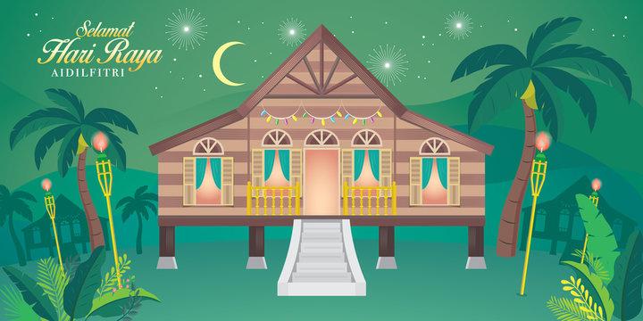 "traditional malay village house. Malay word ""selamat hari raya aidilfitri"" that translates to wishing you a joyous hari raya."