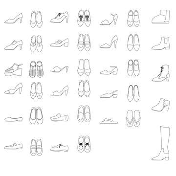 Illustration set of shoes for women.