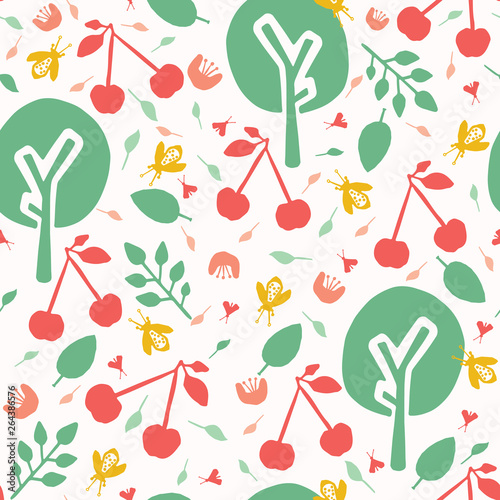 Cherry tree orchard seamless vector pattern background  Hand