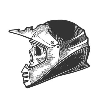 Skull in motorcycle helmet sketch engraving vector illustration. Scratch board style imitation. Hand drawn image.