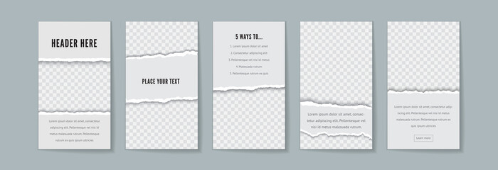 Instagram story template vector set with space for text
