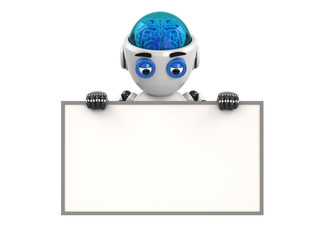 Robot shows on the empty board with white background. 3D Render.