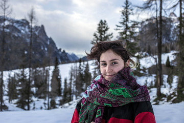 Smiling girl at the mountain