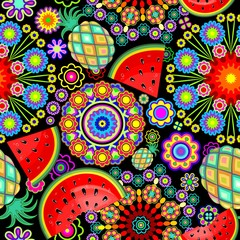 Photo sur Plexiglas Draw Mandalas Flowers and Exotic Fruits Vector Seamless Pattern