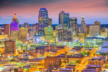 Fototapete - Kansas City, Missouri, USA downtown cityscape