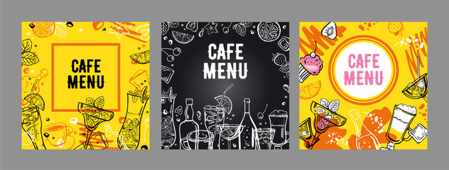 Set of cafe menu cover design templates. Vector outline hand drawn illustration with different cocktails, bottles and coffee cups with yellow and blackboard background