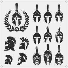 Set of spartans emblems and labels. Sport club design elements and templates. Ancient warriors, spartan spirit, gladiator helmets.