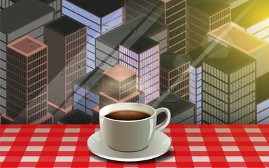 hot coffee cup at the window in the city in the morning