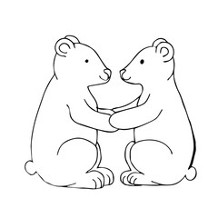 Black white vector illustration. Two polar bears sit facing each other and hold on to their paws. Template for a romantic greeting card. Coloring page.