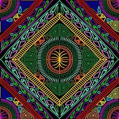 In de dag Draw Boho Diamond Patchwork Vector Seamless Pattern